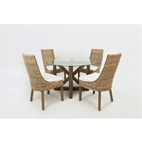 Hampton Road Round Glass Top Dining Table With Four Rattan Chairs