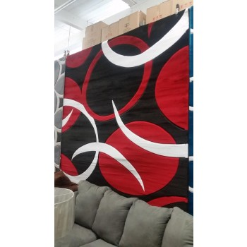Red & Black Hand Carved Rug 5x8