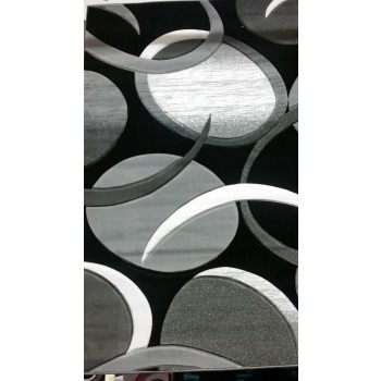 Grey and Black Hand Carved Rug 5x8