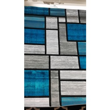 Teal and Grey Hand Carved Rug