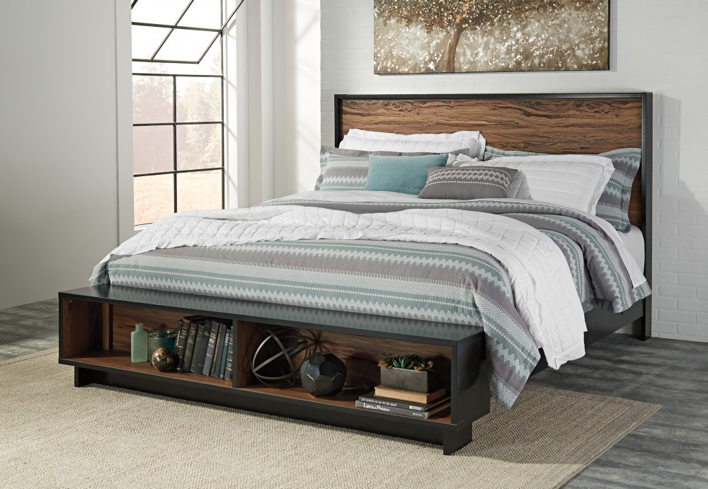 stavani king panel bed with storage - King Panel Bed