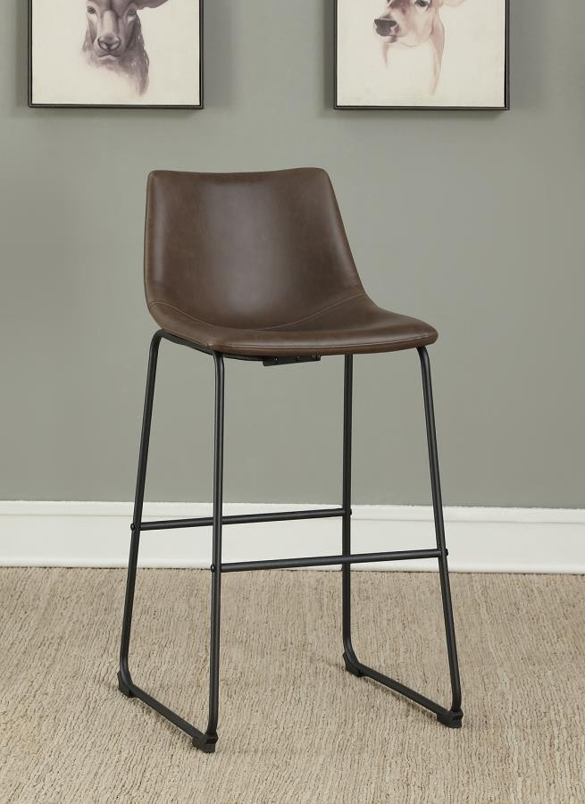 Phenomenal Industrial Brown Faux Leather Bar Stool Pack Of 2 Ibusinesslaw Wood Chair Design Ideas Ibusinesslaworg