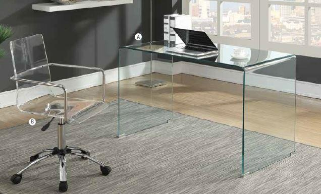 HIGHSMITH COLLECTION - Contemporary Clear Glass Writing Desk