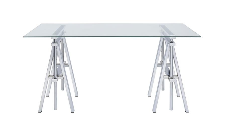 STATHAM COLLECTION - Casual Silver Glass Top Adjustable Writing Desk