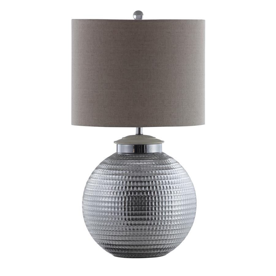 Exceptionnel Silver And Oatmeal Table Lamp With Metal Base
