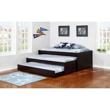 Transitional Cappuccino Triple Daybed