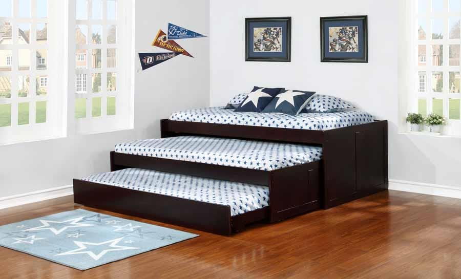 TRIPLE TWIN DAYBED - Transitional Cappuccino Triple Daybed