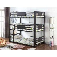 ROGEN TRIPLE BUNK BED - Casual Black Twin Triple Bunk Bed