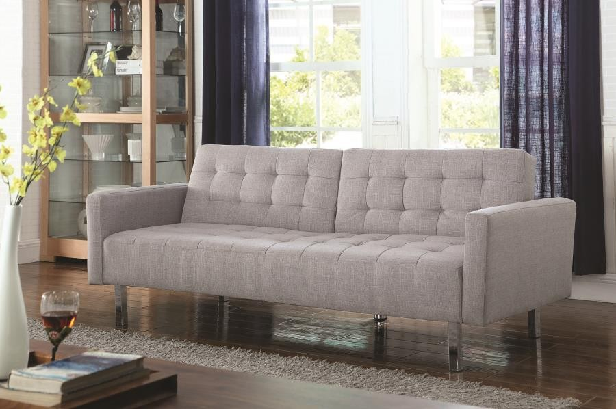 Transitional Light Grey Tufted Sofa Bed 505616 Sleeper
