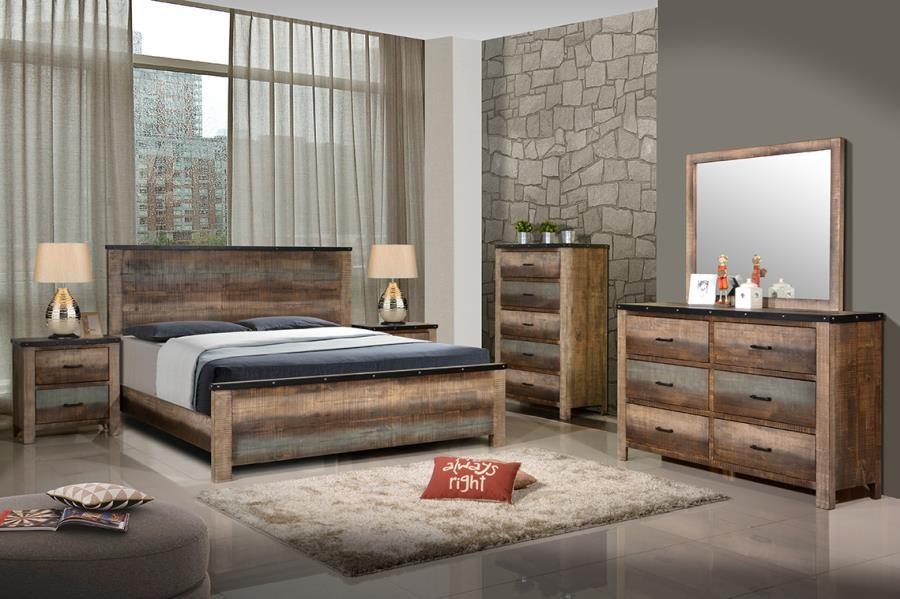 SEMBENE BEDROOM COLLECTION - Sembene Bedroom Rustic Antique Multi-Color  California King Bed