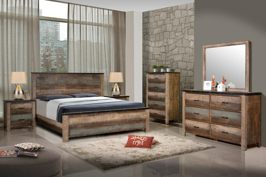SEMBENE BEDROOM COLLECTION   Sembene Bedroom Rustic Antique Multi Color  Queen Bed