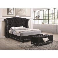 BARZINI BEDROOM COLLECTION - Barzini Black Upholstered Queen Bed