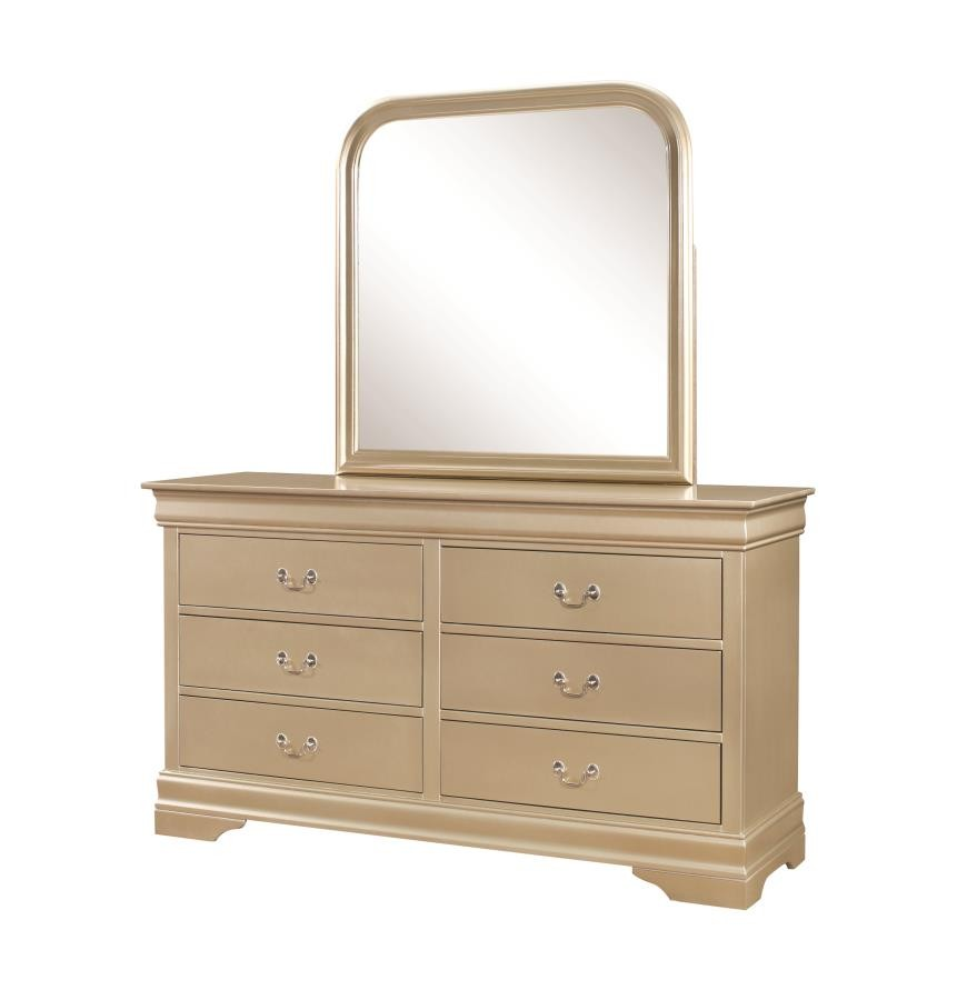 Hershel louis philippe bedroom collection hershel louis philippe metallic champagne six drawer dresser