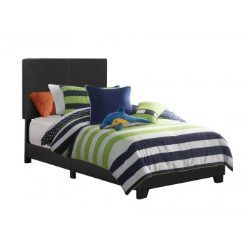 DORIAN UPHOLSTERED BED - Dorian Black Faux Leather Upholstered Twin Bed
