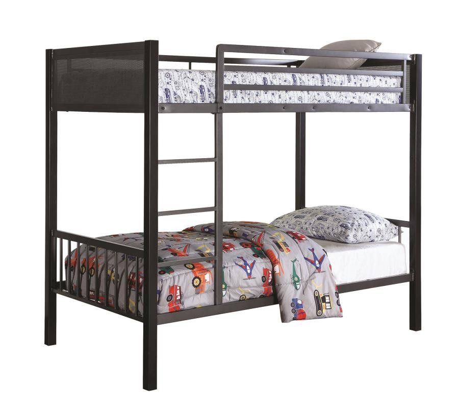 MEYERS BUNK BED - Meyers Traditional Grey Twin-over-Twin Bunk Bed