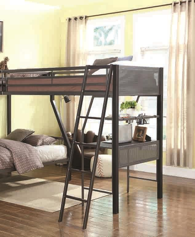 MEYERS BUNK BED - Meyers Traditional Grey Twin Loft Add-On