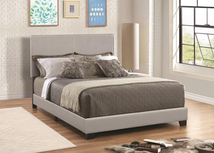 DORIAN UPHOLSTERED BED - Dorian Grey Faux Leather Upholstered Queen Bed