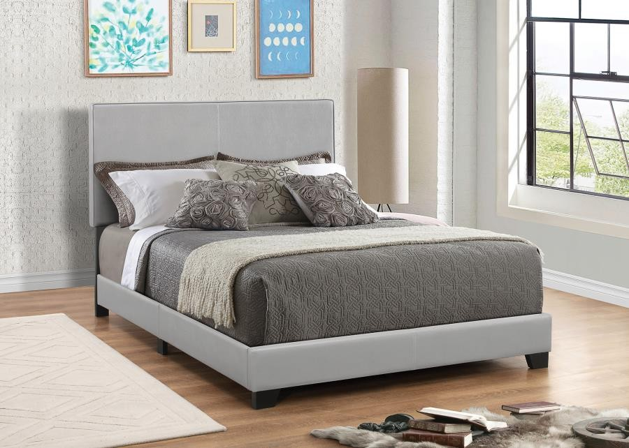 DORIAN UPHOLSTERED BED - Dorian Grey Faux Leather Upholstered California King Bed