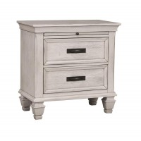 FRANCO COLLECTION - Franco Antique White Two-Drawer Nightstand With Tray