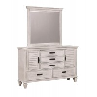 FRANCO COLLECTION - Franco Antique White Five-Drawer Chest With Louvered Panel Doors