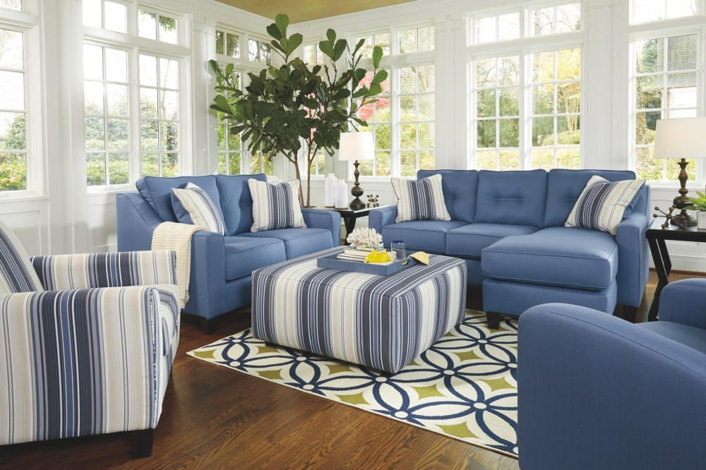 aldie nuvella blue sofa chaise 6870318 sofas furniture world superstore. Black Bedroom Furniture Sets. Home Design Ideas