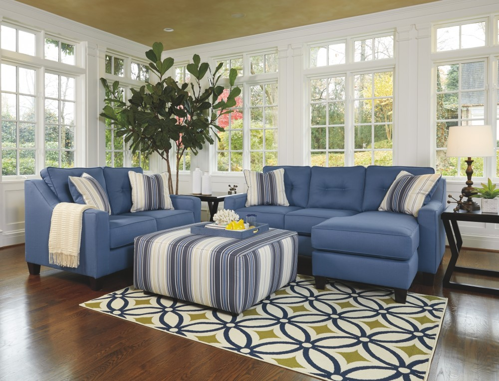 Aldie Nuvella Blue Sofa Chaise 6870318 Sofas
