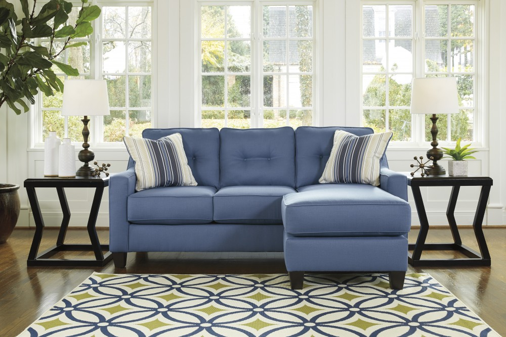 Aldie Nuvella - Blue - Queen Sofa Chaise Sleeper