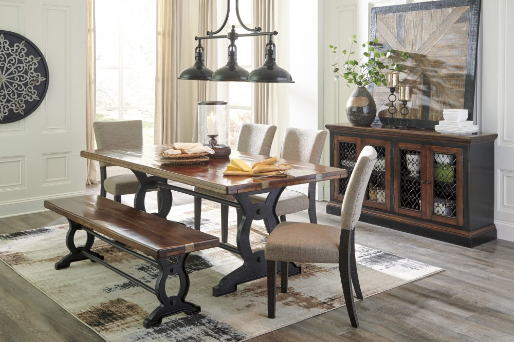 Zurani RECT DRM Table, 4 UPH Side Chairs & Large Bench