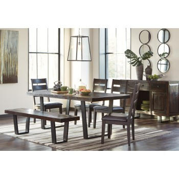 Parlone RECT DRM Table, 4 UPH Side Chairs & Large Bench