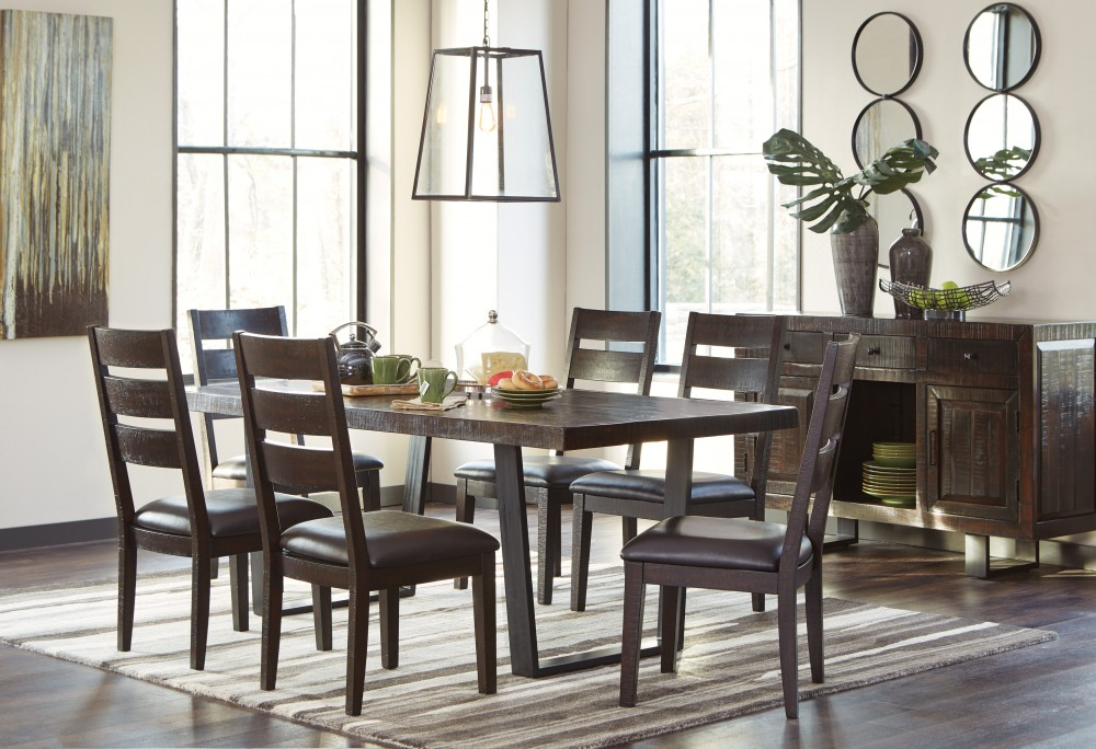 Parlone RECT DRM Table & 6 UPH Side Chairs