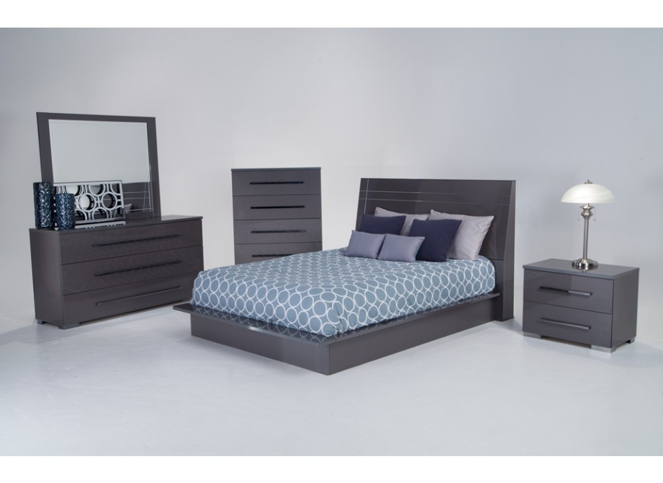 Dimora Platinum 5 Piece Bedroom Group Dimora Grey Bedroom Sets
