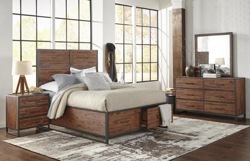 Studio 16 5 piece king bedroom set bed dresser mirror for Pruitts bedroom sets