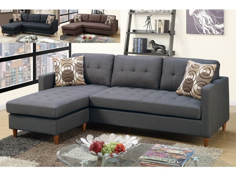 Blue Grey Linen Sectional Sofa