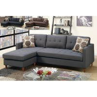 Blue Grey Linen Sectional Sofa
