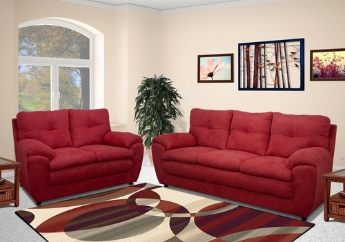Emily Collection Burgundy Sofa and Loveseat