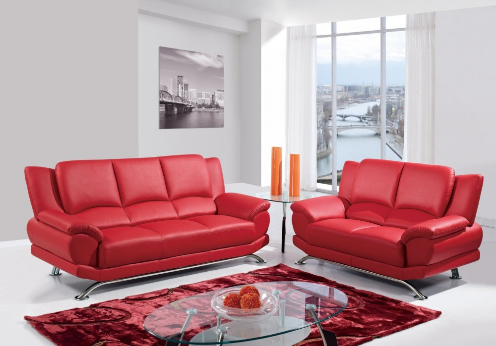 9908 Red Sofa and Love Seat Group