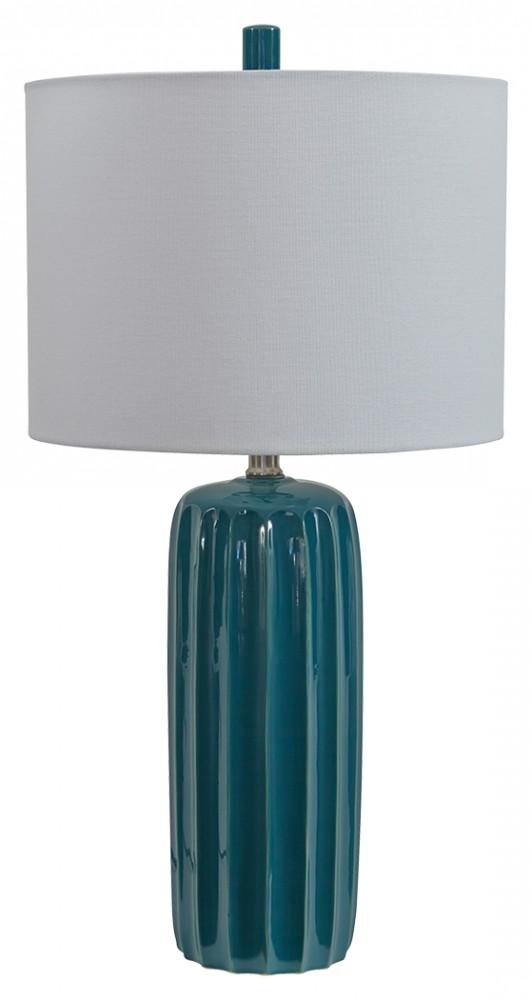 Adorlee Teal Ceramic Table Lamp 2 Cn L177924 Lamps The