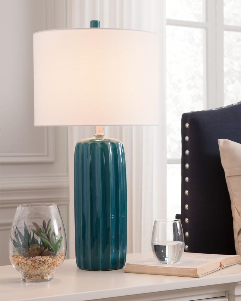Adorlee Teal Ceramic Table Lamp 2 Cn L177924 Lamps