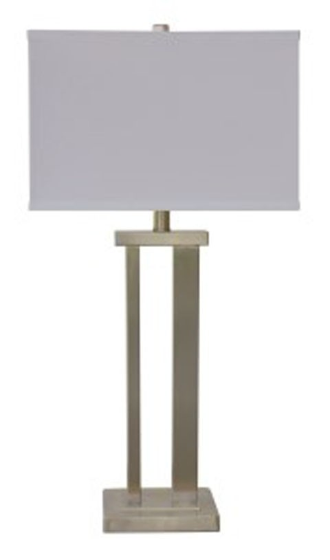 Aniela silver finish metal table lamp 2 cn