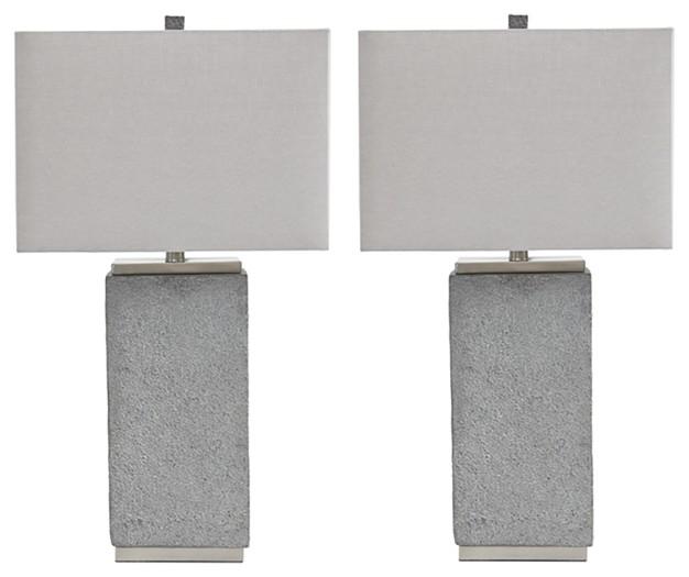Amergin - Gray - Poly Table Lamp (2/CN)