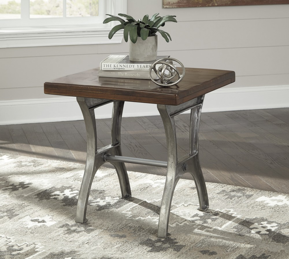Dresbane   Warm Brown   Rectangular End Table