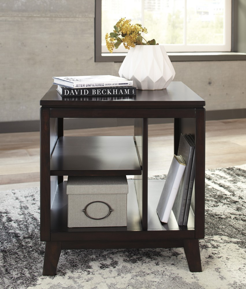 Etonnant Chanceen   Dark Brown   Rectangular End Table