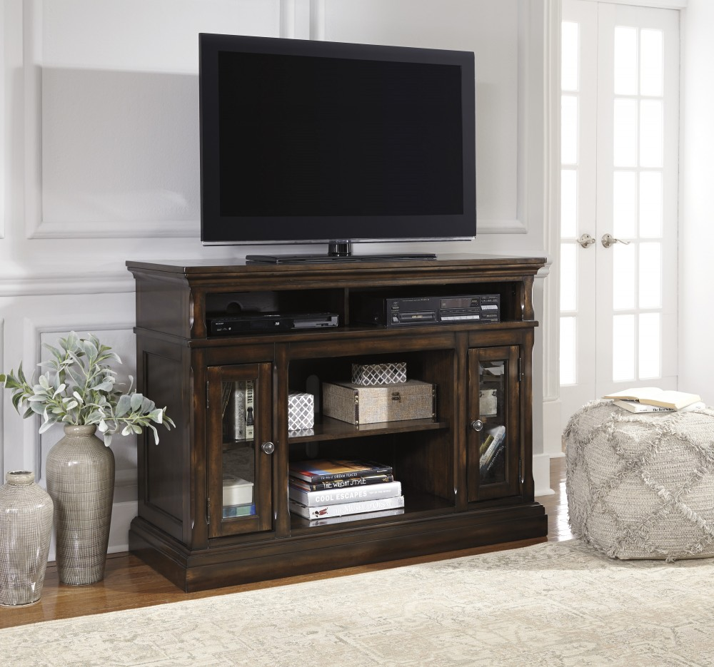 Roddinton - Dark Brown - MED TV Stand w/FRPL/Audio OPT