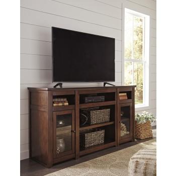 Harpan - Reddish Brown - XL TV Stand w/Fireplace Option