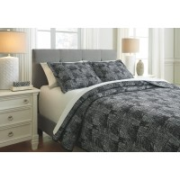 Jabesh - Black - Queen Quilt Set
