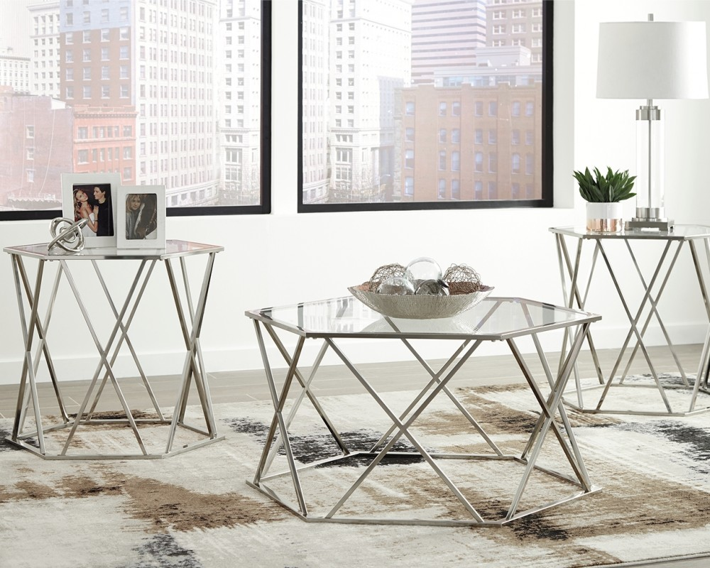 Madanere chrome finish occasional table set 3 cn - Three piece living room table set ...
