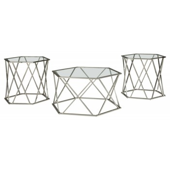 Madanere - Chrome Finish - Occasional Table Set (3/CN)