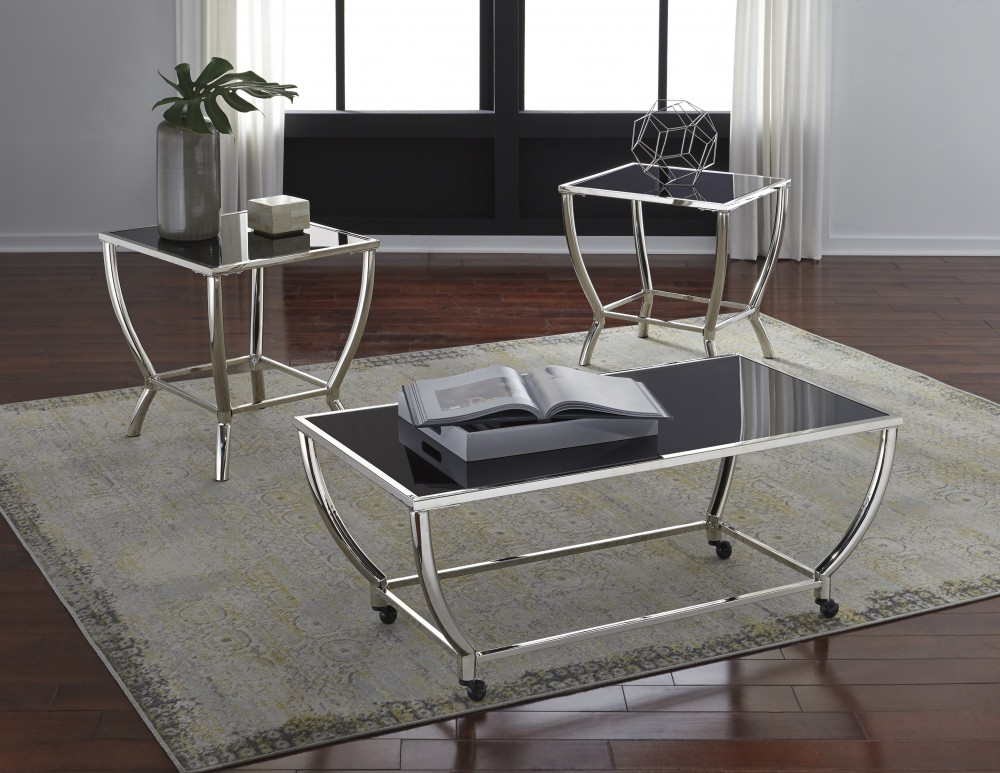 Blasney - Black/Chrome Finish - Occasional Table Set (3/CN) : occasional table set - pezcame.com
