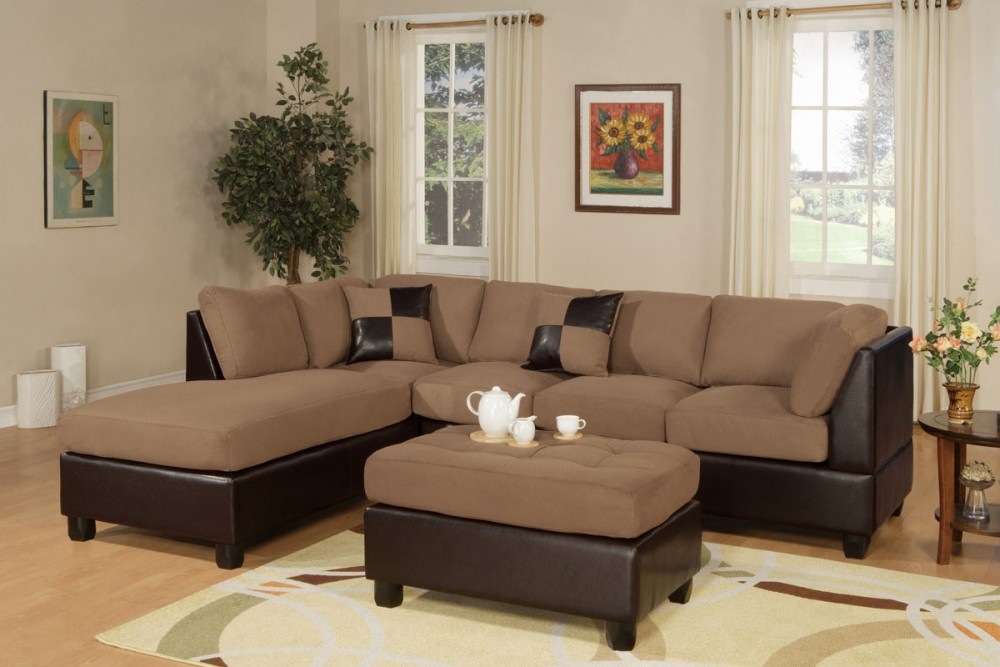 Microfiber Modern 3pc Sectional