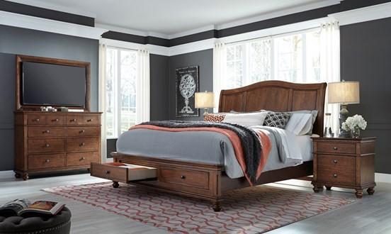 Aspen Oxford Whiskey Brown Queen Sleigh Bed